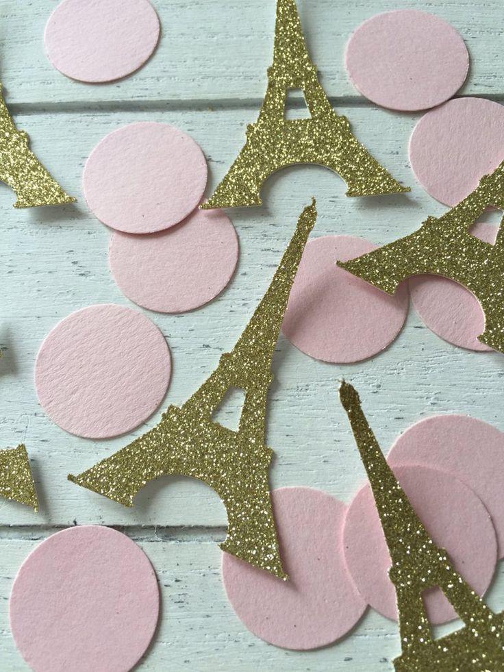 Pink and gold Vintage confetti. Eiffeil tower. Paris theme. Confetti. First birthday party. 1st birthday girl. Gold glitter confetti.