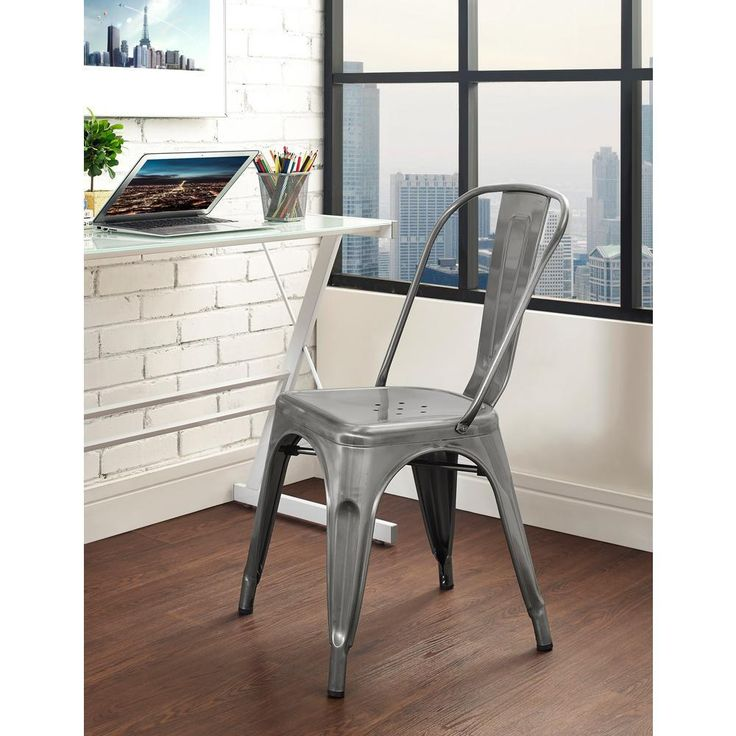 Stackable for space saving needs. Includes one chair. Seat height measures 17 in. Rubber floor protector pads. Powder-coated metal. Attractive, antiqued finish. We proudly stand behind the quality of our products. | eBay!