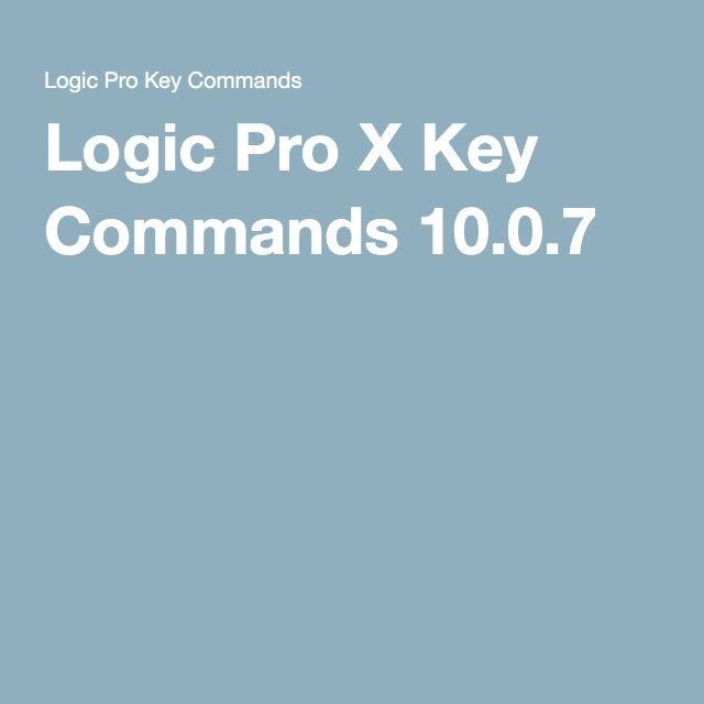 Logic Pro X Key Commands 10.0.7