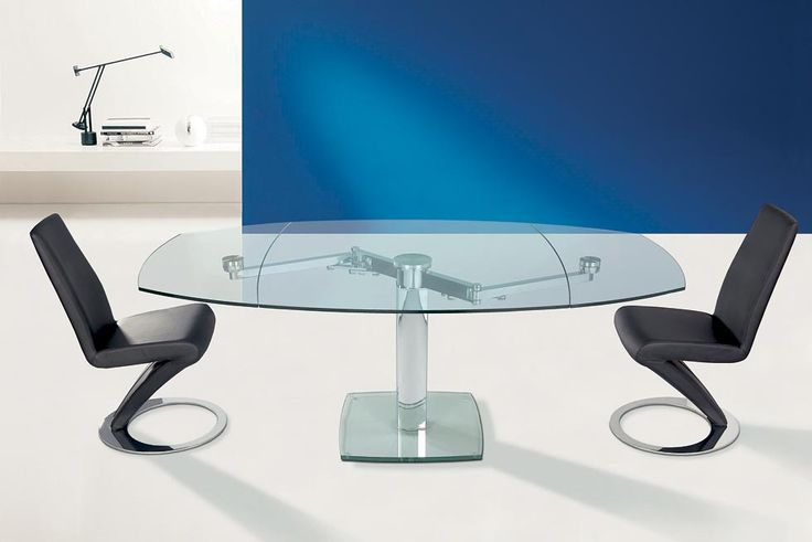 ADVANCE. Synchronized movements allow the extensions of the top in a harmonious and linear shape. Extending dining table with central glass base, glass top and visible extensions under the top. http://www.easy-line.it