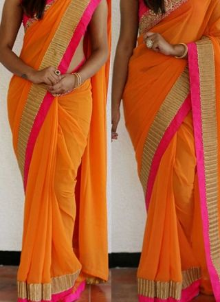 Orange Embroidery Work Designer Georgette Party Wear Fancy Sarees http://www.angelnx.com/Sarees/Designer-Sarees