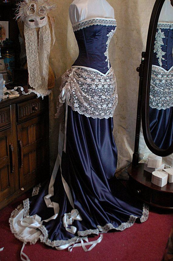 Julianna custom made grape duchess satin and ivory lace for Steel boned corset wedding dress