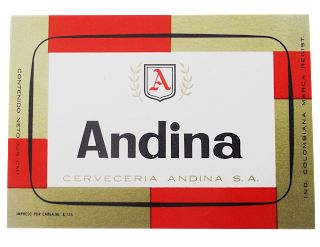 1960  ETIQUETAS DE CERVEZA COLOMBIANA: ANDINA