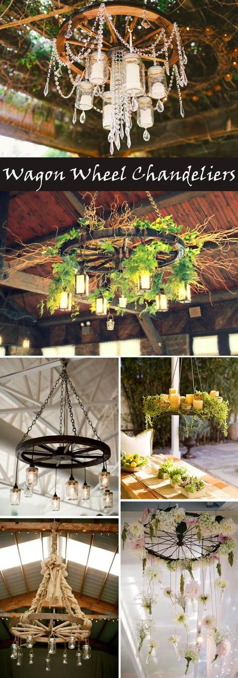 DIY wagon wheel chandelier ideas for rustic and vintage weddings