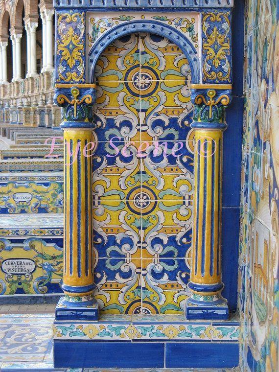 Spanish mosaic pillar column glazed tile photograph Seville Spain Blue yellow green orange gold Fine art photo print Home office décor 8x12