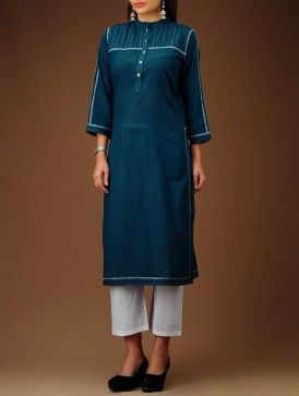 Indigo Embroidered Yoke Cotton Kurta