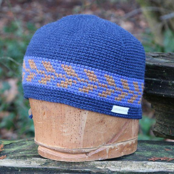 Wool beanie unisex snowboarding hat tapestry crochet by UpthePitt