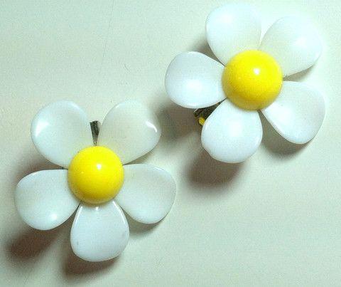 Mod Bright Yellow and White Plastic Daisy Clip Earrings circa 1960s - Dorothea's Closet Vintage