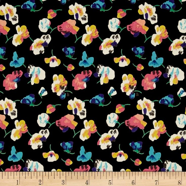 Peach Crepe De Chine Floral Print from @fabricdotcom  Fashionable, lightweight and soft, this crepe de chine fabric is perfect for trendy blouses, scarves, fashionable flowy dresses and skirts.with a lining. Colors include peach, teal, purple, pink, grey cream, yellow and blue on a black background.