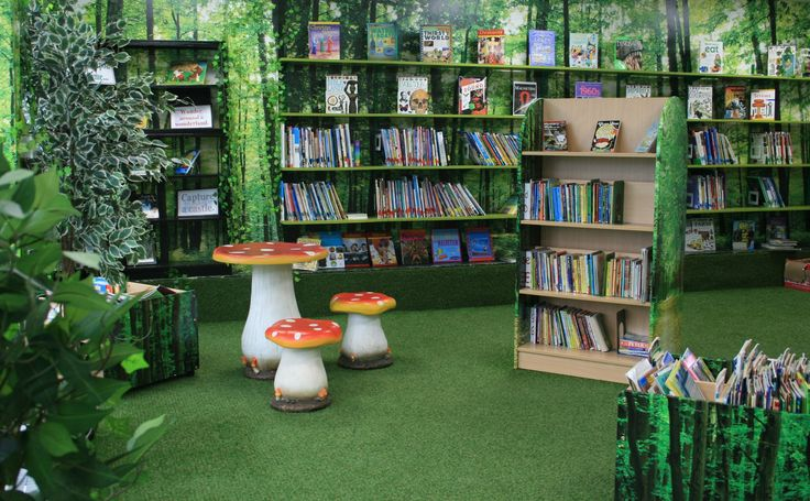 The library at Cordwalles junior school in Surrey has been transformed into an enchanted forest complete with astroturf for carpet. The room has a magical feel with a working water feature.