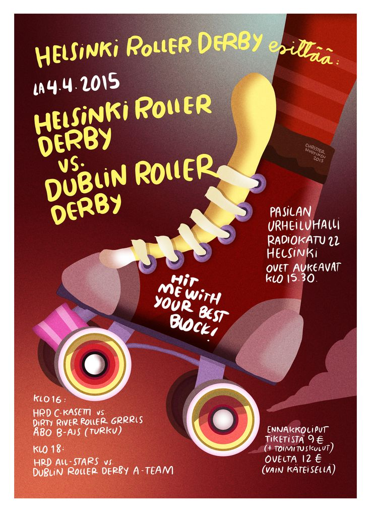 Helsinki Roller Derby poster by Christer Nuutinen