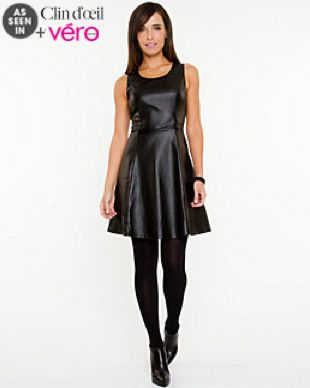 Leather Like Fit Flare Dress