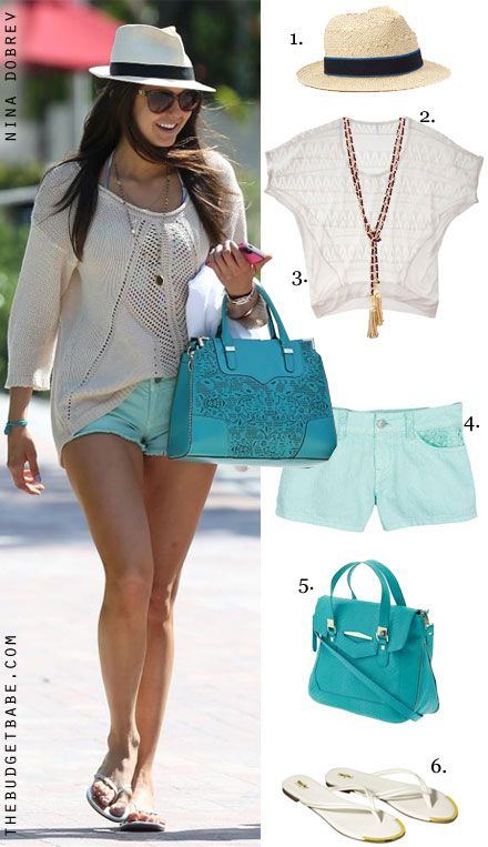 Nina Dobrev's knit top, mint shorts and Yosi Samra flip flops