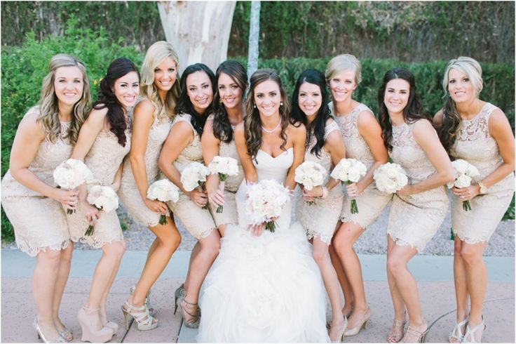 bridesmaid dresses - lace bridesmaid dress - short bridesmaid dress - beige bridesmaid dress - neutral bridesmaid dress - Scottsdale Wedding Photographer | Rachel Solomon Photography