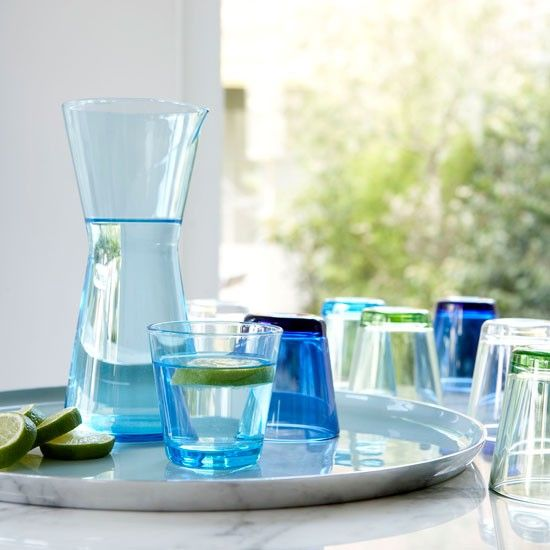 Iittala Kartio range in many colourways , fresh and practical everyday glassware.