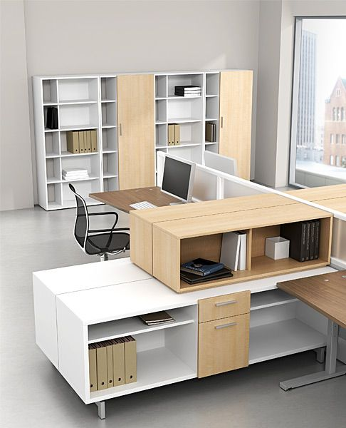 Seven workstations with zo storage open office Office furniture 911