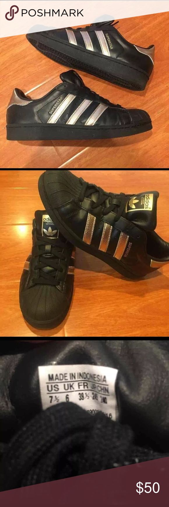 Adidas Superstars Great condition hardly worn black and gold adidas Superstars. Size 7.5 women's, should also fit 8. Please know your size in these prior to purchasing. adidas Shoes Sneakers
