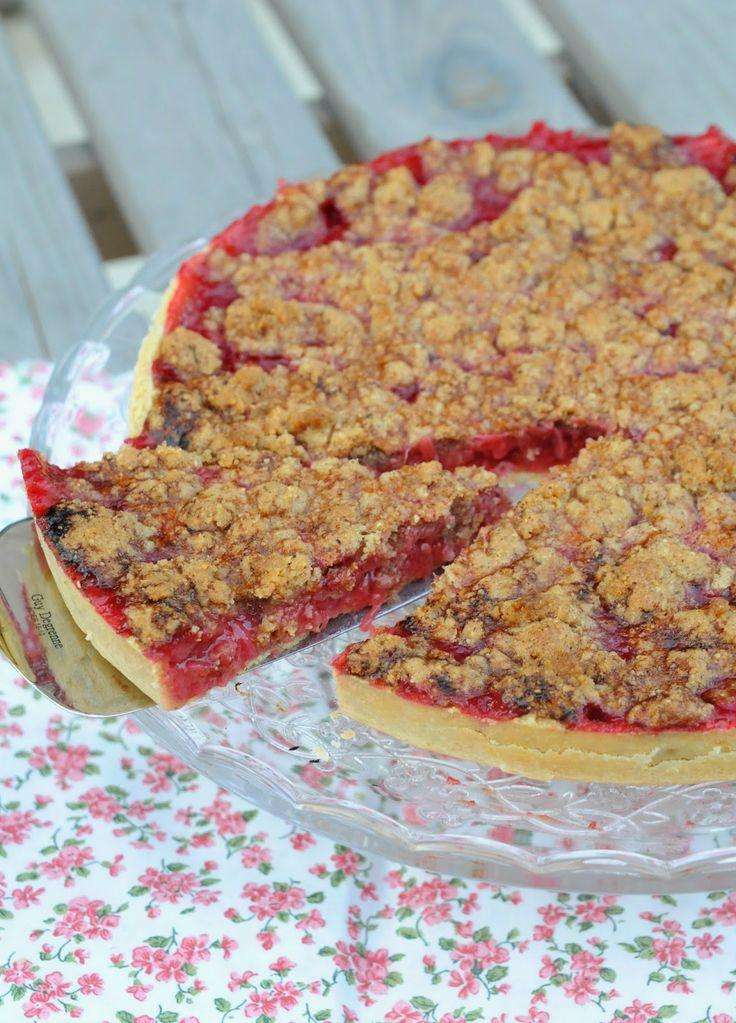 13 desserts, chacun: Tarte streusel rhubarbe framboise