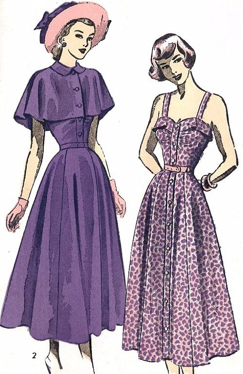 1940s Lovely Front Button Sundress and Cape Pattern ADVANCE 4888 Daytime or Evening Dress Bust 34 Vintage Sewing Pattern