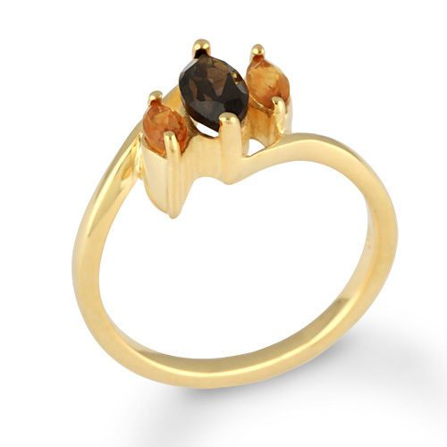Natural Smoky Topaz Stone Ring 925 Solid Silver Jewelry Gold Plated SZ 6 #Rinnga