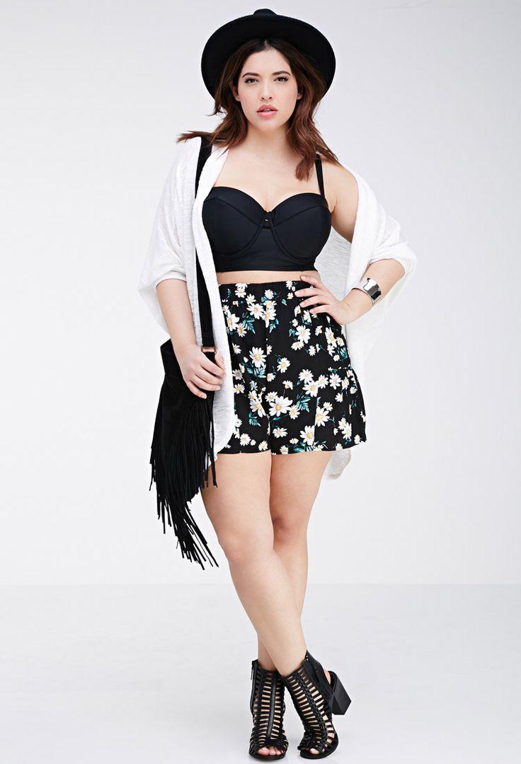 Daisy Print Flounce Shorts - PLUS SIZES - 2000080742 - Forever 21 UK