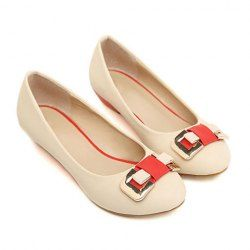 $12.73 Casual Women's Flat Shoes With Color Block Belt and Buckle Design