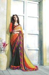 Multi Color Amazing Unique Embroidery Style Designer Saree