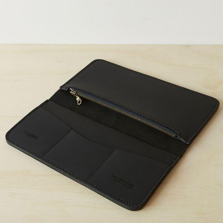 Large Leather Passport Wallet - Black