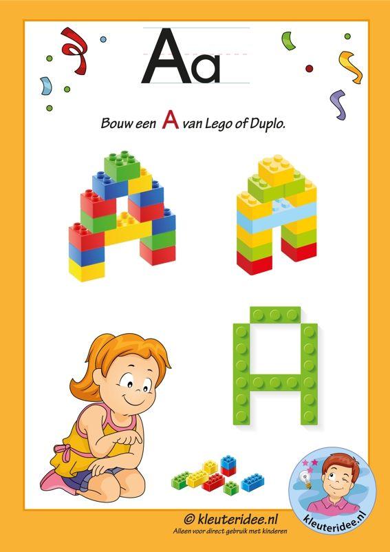 Pakket over de letter a blad 13, maak een A van lego of duplo, letters aanbieden aan kleuters, kleuteridee.nl, free printable.