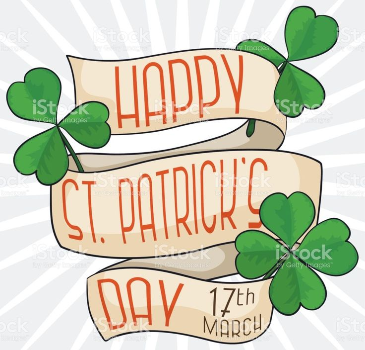 Some Lucky Clovers with Greeting Ribbons Commemorating Saint Patrick's Day royalty-free stock vector art