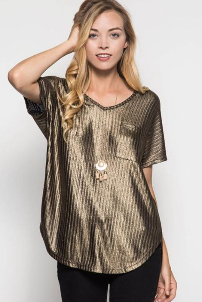 Ashlyn Metallic Short Sleeve Top - Gold