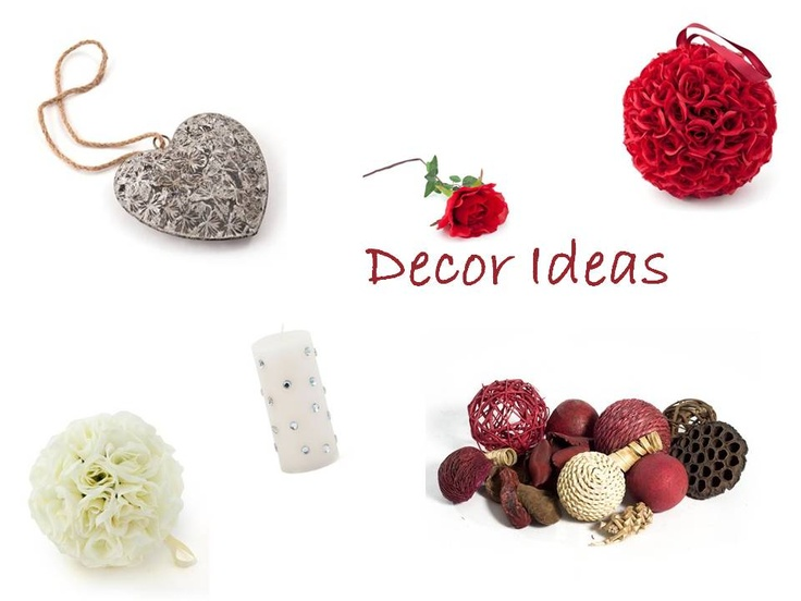 Decor Ideas. Items include: Hanging Roseball Red, Hanging Roseball White, Ass Deco Ball Pack Red, Metal Butterfly Heart, Rose Large Red, Bling Diamante White 3X6