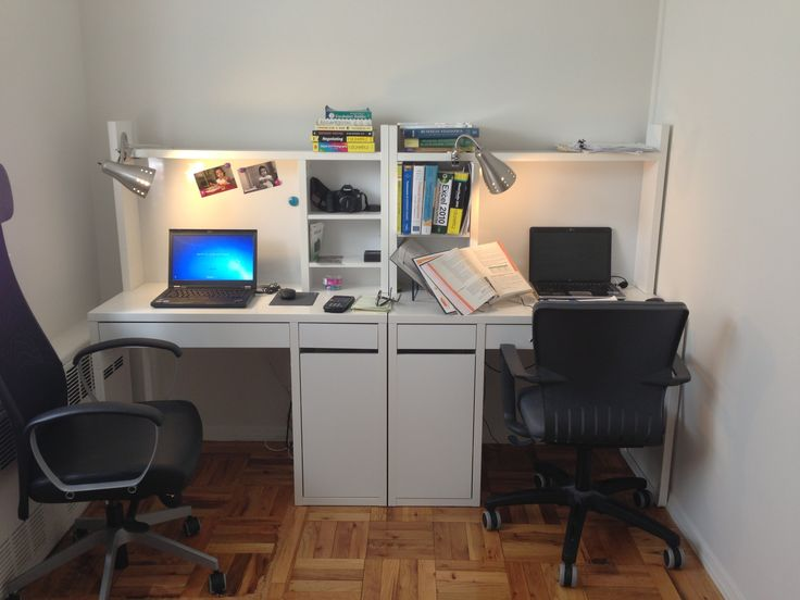 Two Micke Work Stations From Ikea And Clip On Desk Lights