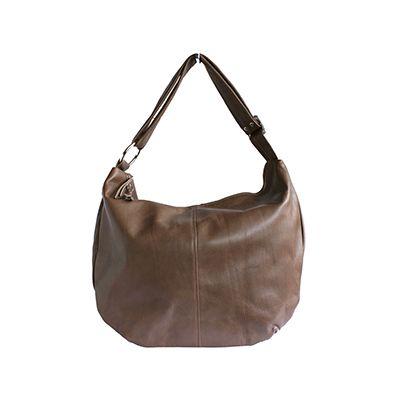 Sabrina Italian Taupe Leather Hobo Bag - £64.99