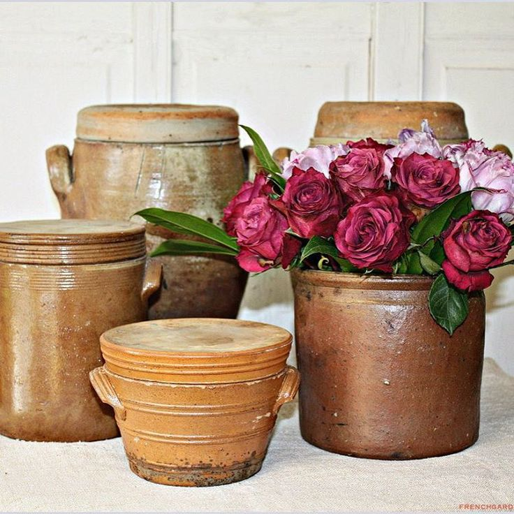 Antique French Pots de Gres. Adore these! All coming home to FrenchGardenHouse. #frenchcountry #frenchantiques #europeanantiques #countryfrench #country #kitchen #cuisine #europeanadventures #europeanantiquesbuyingtour #ilovemyjob #frenchfarmhouse #frenchgardenhousestyle
