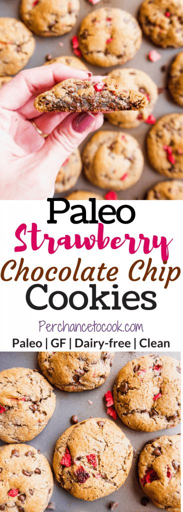 Paleo Strawberry Chocolate Chip Cookies (GF) | Perchance to Cook, www.perchancetocook.com