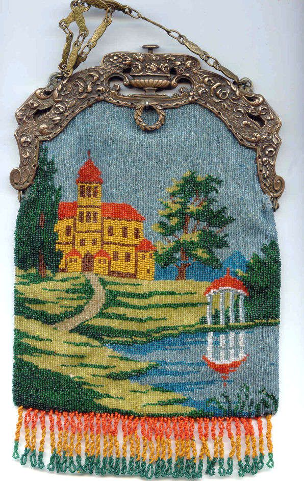 cenic Castle with Gazebo Beaded Purse with Fancy Embossed Openwork Frame