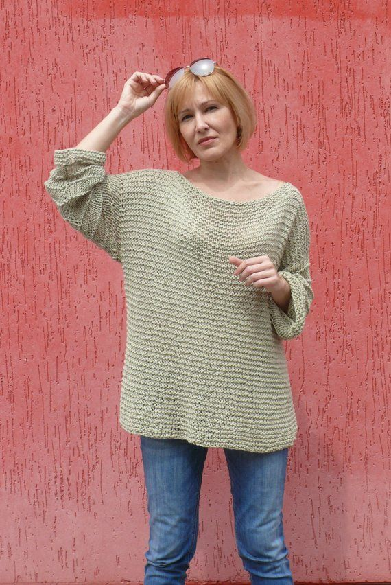 Plus Size Cotton Sweater Loose Knit Woman Cotton Sweater Chunky