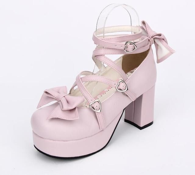 9802793bcb8 Pink Strappy Wrap Around Lolita High Heel Shoes Princess