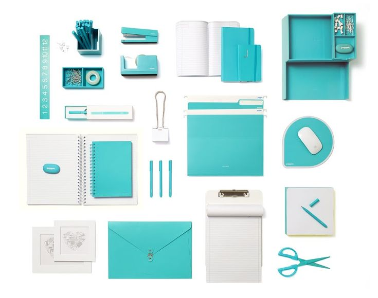 Poppin Aqua Desk Accessories | Modern Office Supplies #workhappy