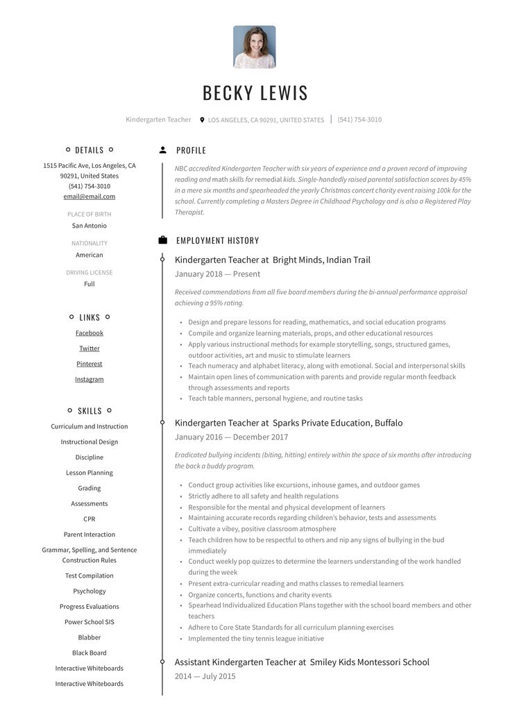 Kindergarten teacher resume example in 2020 resume guide