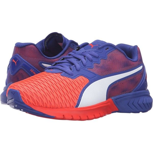 PUMA Ignite Dual (Red Blast/Royal Blue) Women's Running Shoes ($49) ❤ liked on Polyvore featuring shoes, athletic shoes, orange, rubber shoes, red running shoes, chevron shoes, lace up shoes and breathable shoes