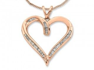 Bevilles Jewellers are proud to boast this 9ct Rose Gold Diamond Open Heart Necklace 99A1017 which is available as part of their exquisite range of Jewellery Sets. #rosegold #rose #diamonds #rosesarered #bevilles