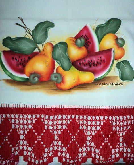 Pano de prato decorativo com frutas | Ateliê Cantinho das cores | Elo7