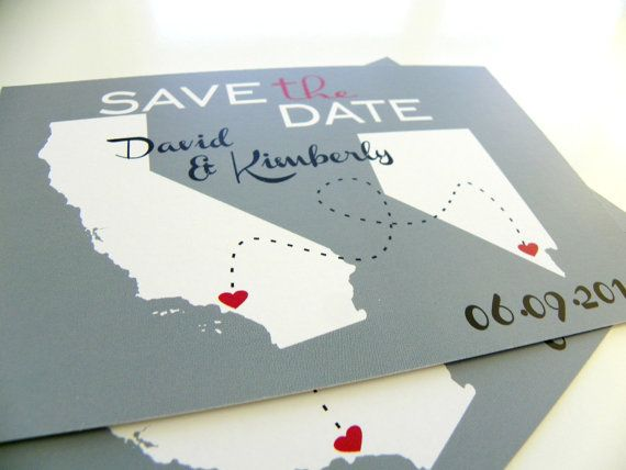 Save the Date Postcards Custom State Wedding Map Set of 48 Love Will Find A Way Series on Etsy, $69.00