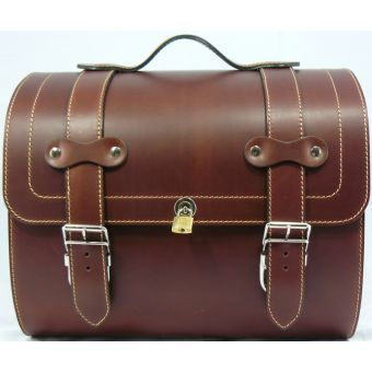 Large Leather Top Case Roll Bag for Piaggio Vespa PX LX LXV GTS GTV, Vintage Brown.A helmet can fit in here!