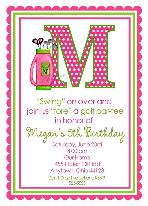 Golf Birthday Invitations Girls Golfing Party Pink Children