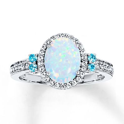 It may be cold outside, but this lab-created blue opal ring will definitely warm her heart!