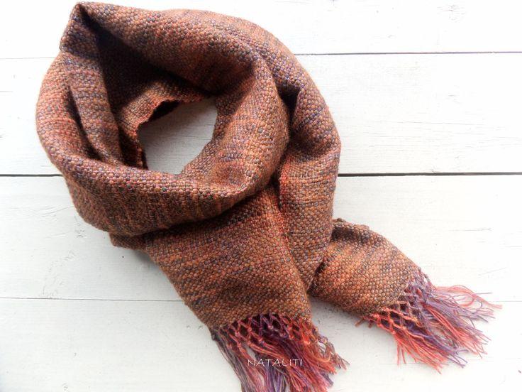 Купить Шарф Каштановый домоткань, шерсть/смесовая шерсть - коричневый, шарф, шарф женский, шарф мужской