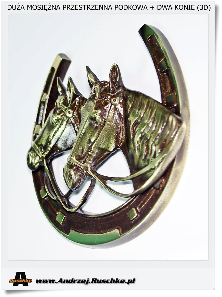 Duża podkowa + 2 konie Polskie rękodzieło DIY